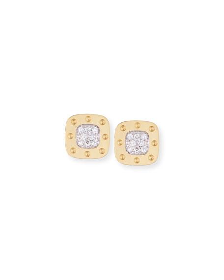 Roberto Coin Pois Moi 18k Square Diamond Stud Earrings