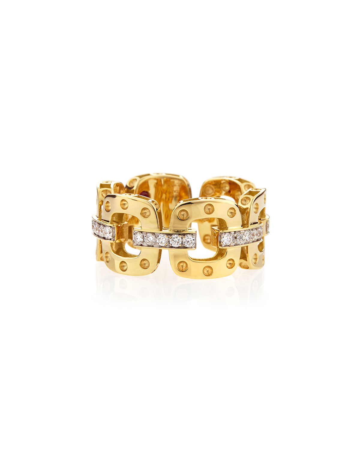 Roberto Coin 18k Yellow Gold Pois Moi Band Ring with Diamonds, Size 6.5