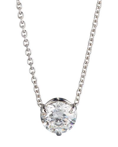 18K White Gold Round Diamond Pendant Necklace, 1.01ct