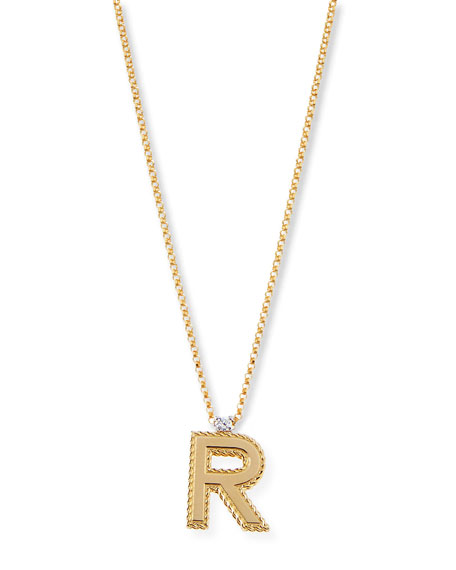 Princess 18K Yellow Gold Diamond Initial Necklace, R