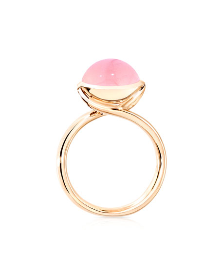 Large Bouton Pink Chalcedony Cabochon Ring, Size 7/54