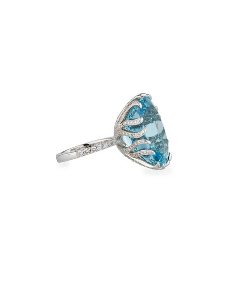 Alexander Laut 18k White Gold Aqua Cushion Diamond Pave Ring, Size 6