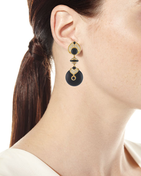 Pneu 18k Yellow Gold Quartz, Diamond and Black Jade Earrings