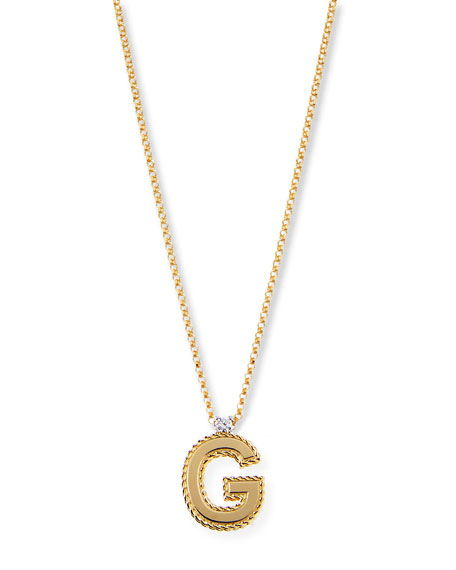 Roberto Coin Princess 18K Yellow Gold Diamond Initial Necklace, F