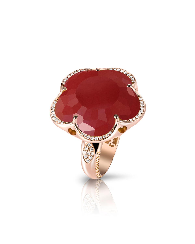 Pasquale Bruni Bon Ton Chalcedony Flower Ring with Diamonds in 18K Rose Gold ydxzhG