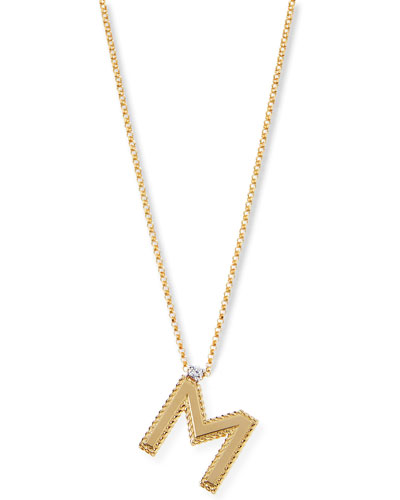 Princess 18K Yellow Gold Diamond Initial Necklace, M