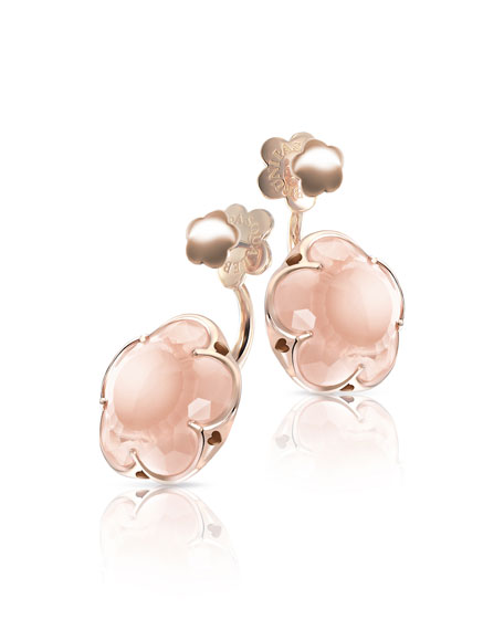 Bon Ton Pink Quartz Flower Jacket Earrings in 18K Rose Gold