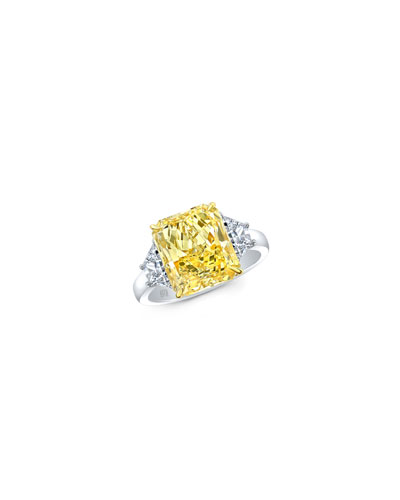Yellow Radiant-Cut Three-Stone Diamond Ring in Platinum & 18k Gold  Size 6.5