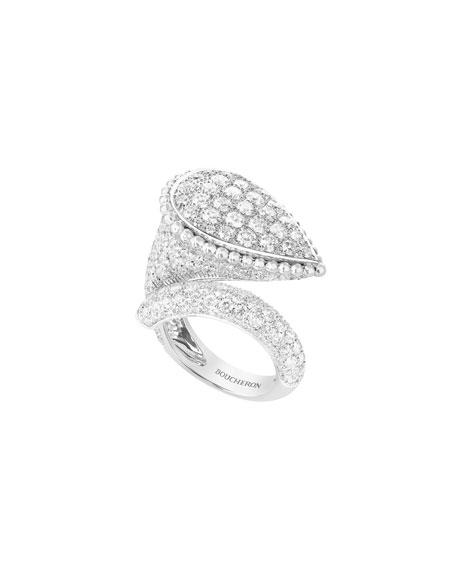 Boucheron Serpent Boheme 18k White Gold Diamond Large Ring, Size 53