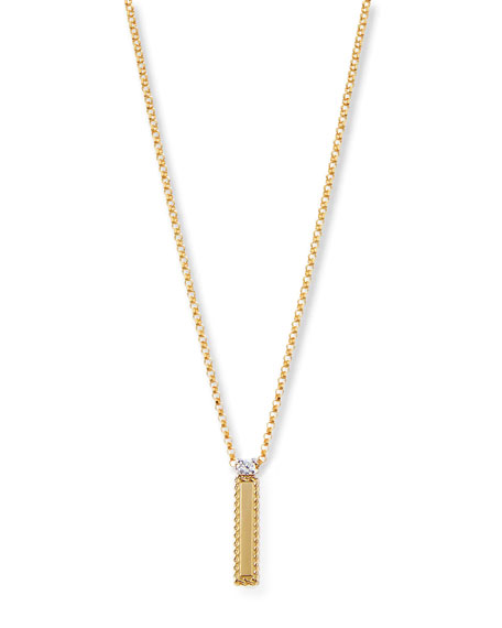 Princess 18K Yellow Gold Diamond Initial Necklace, I