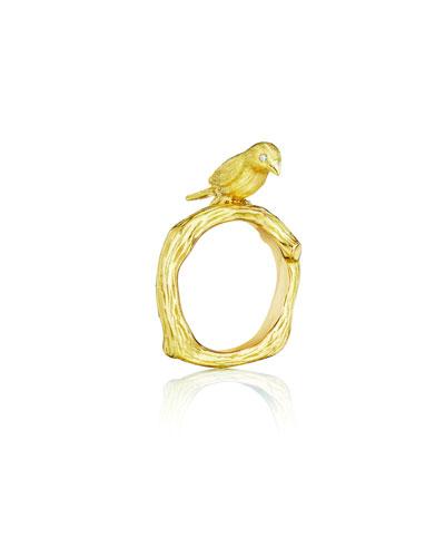 Wonderland 18K Gold Bird Ring  Size 8
