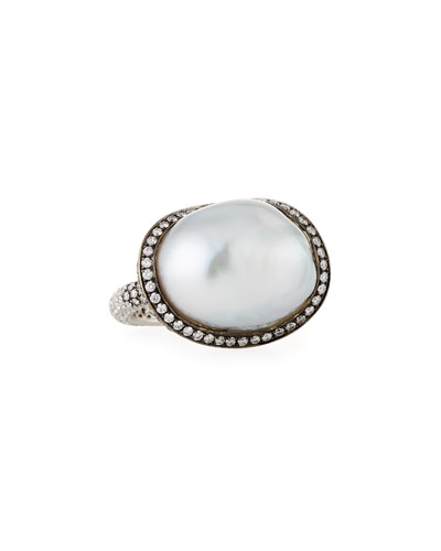 Baroque Pearl & Diamond Ring