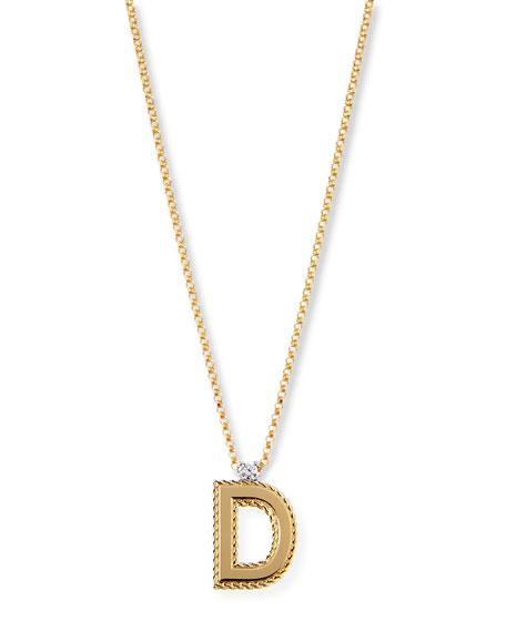 Princess 18K Yellow Gold Diamond Initial Necklace, D