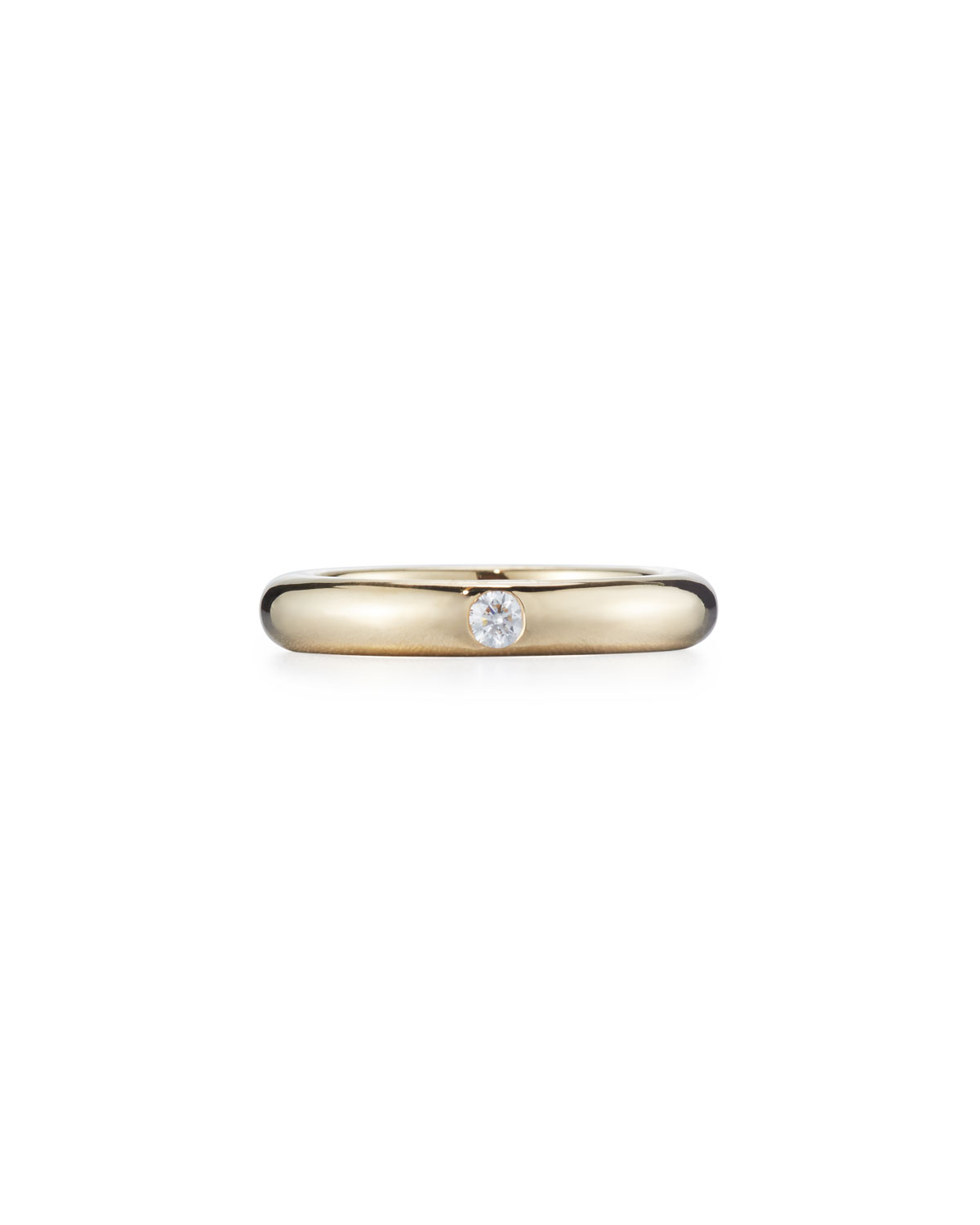 Adolfo Courrier Pop 18K Yellow Gold Ring with One White Diamond, Size 6.5
