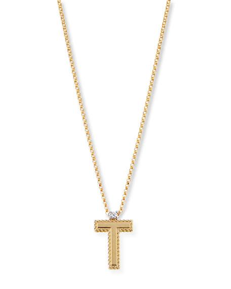 Princess 18K Yellow Gold Diamond Initial Necklace, T