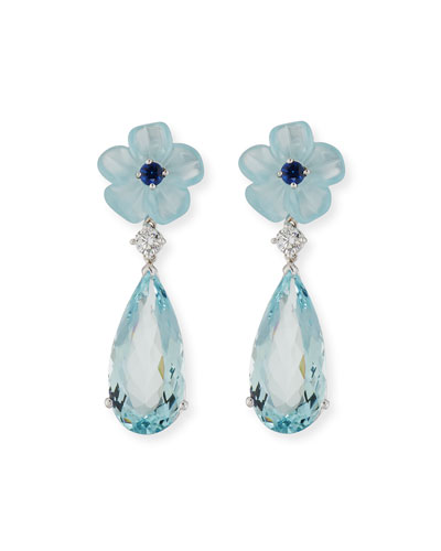 Aquamarine Flower Earrings with Diamonds