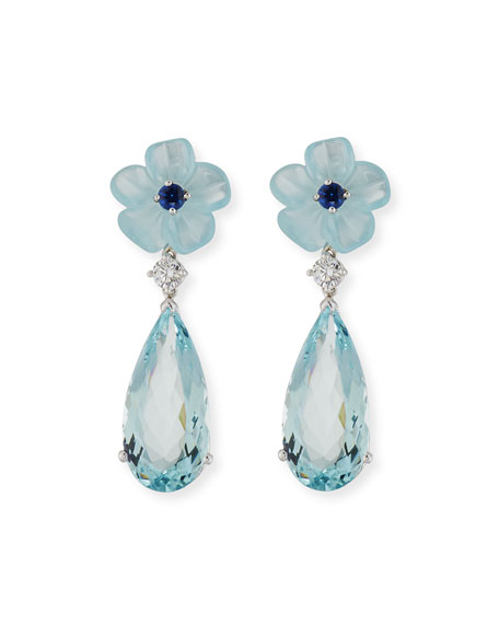 Aquamarine Flower Earrings with Diamonds