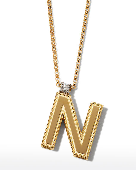 Roberto Coin Princess 18K Yellow Gold Diamond Initial Necklace, V