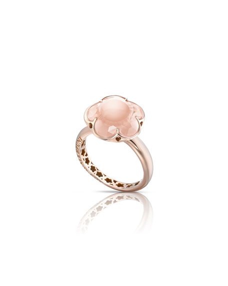 Bon Ton Pink Quartz Flower Ring in 18K Rose Gold