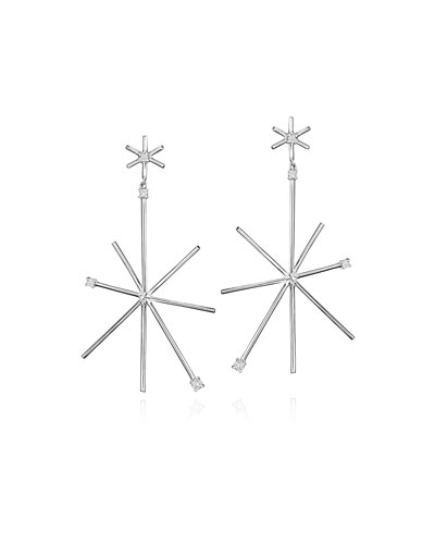 Large 18K White Gold Piece Star Earrings with Diamonds