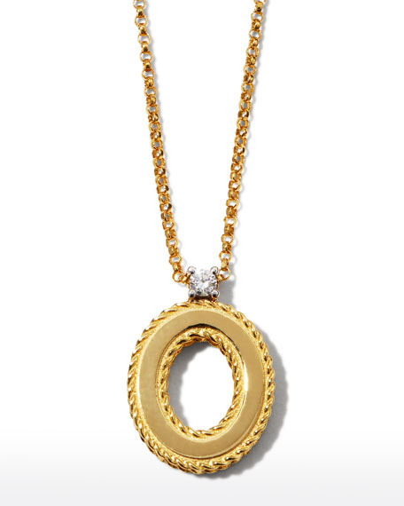Princess 18K Yellow Gold Diamond Initial Necklace, O