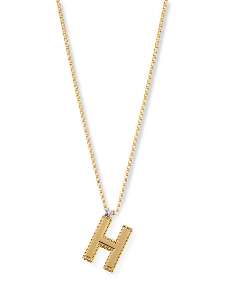 Princess 18K Yellow Gold Diamond Initial Necklace, H