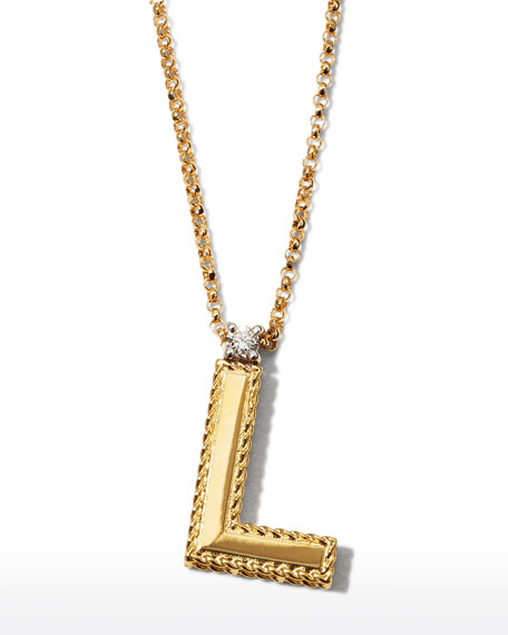 Princess 18K Yellow Gold Diamond Initial Necklace, L