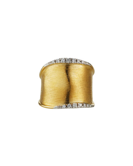 Marco Bicego Lunaria Medium Band Ring with Diamonds, Size 7