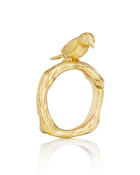 Mimi So Wonderland 18K Gold Bird Ring, Size