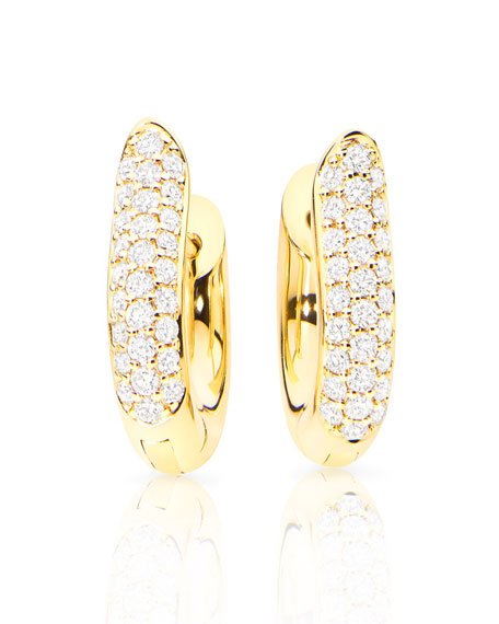 Pave Diamond Hoop Earrings in 18K Yellow Gold