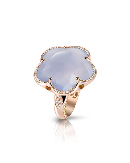Bon Ton Chalcedony Flower Ring with Diamonds in 18K Rose Gold