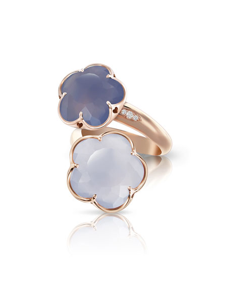 Pasquale Bruni Bon Ton Chalcedony Flower Ring with Diamonds in 18K Rose Gold w7xn1dnF