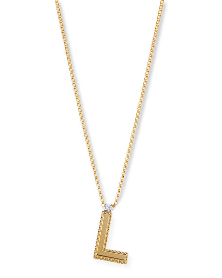 Princess 18K Yellow Gold Diamond Initial Necklace, F