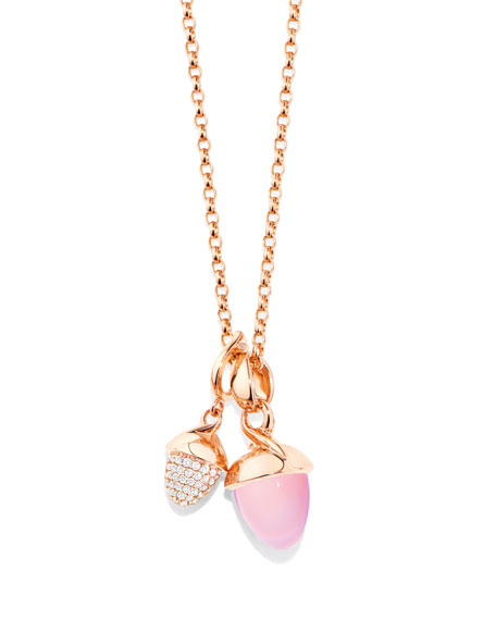 Tamara Comolli Mikado Bouquet Pink Chalcedony Pendant Enhancer in Rose Gold