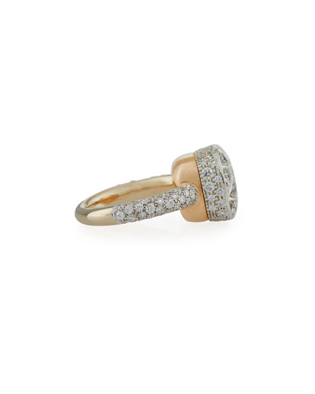 Grande Nudo 18K White & Rose Gold Ring with Diamonds, Size 53