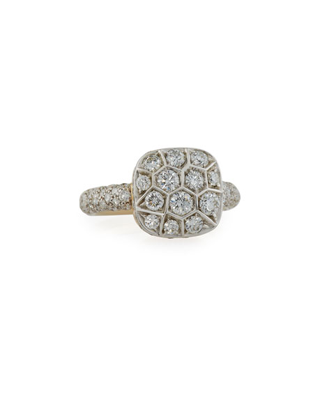 Grande Nudo 18K White & Rose Gold Ring with Diamonds, Size 53