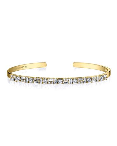 Mixed Diamond Cuff Bracelet in 18K Gold