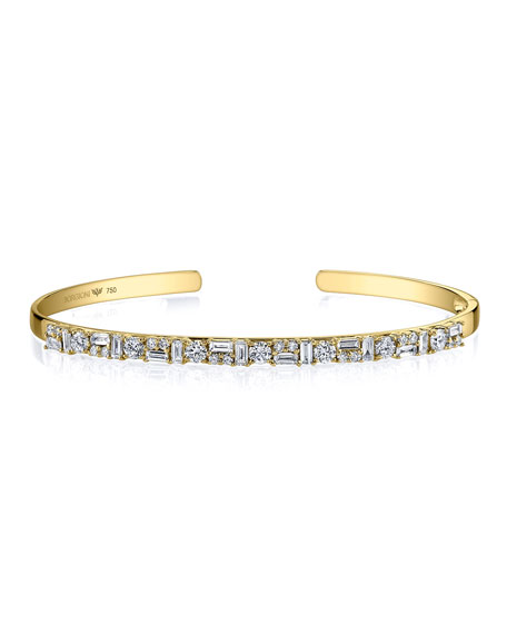Borgioni Mixed Diamond Cuff Bracelet in 18K Gold