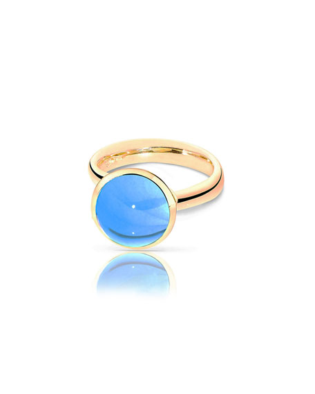 Tamara Comolli Large Bouton Swiss Blue Topaz Cabochon Ring, Size 7/54