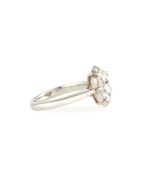 Bayco 18K Platinum & Diamond Flower Ring, Size 6.25
