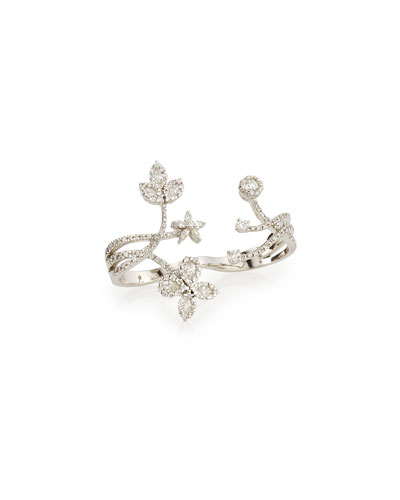 Floral Diamond Double-Finger Ring  Size 6/7