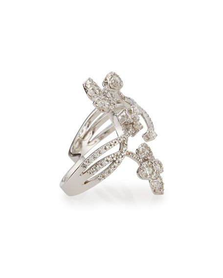 Floral Diamond Double-Finger Ring, Size 6/7