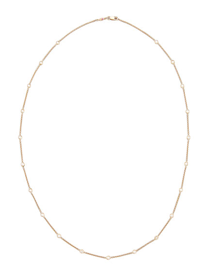 """Roberto Coin 24"""" Rose Gold 21-Diamond Station Necklace"""