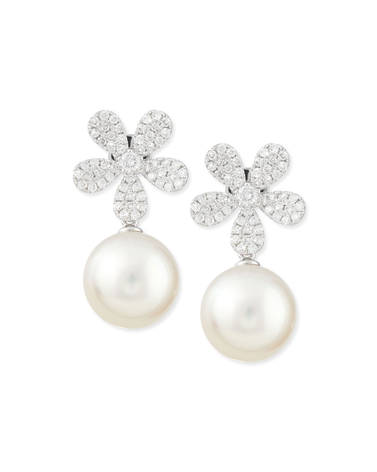 Belpearl Fleur White Diamond & Pearl Earrings