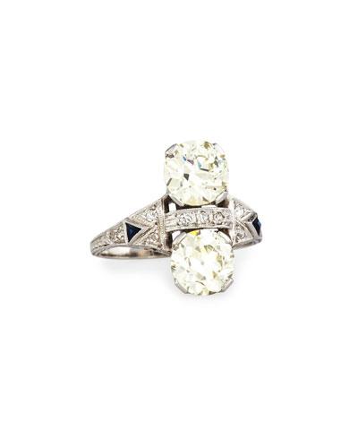 Estate Art Deco Two-Stone Diamond Dinner Ring  Size 6