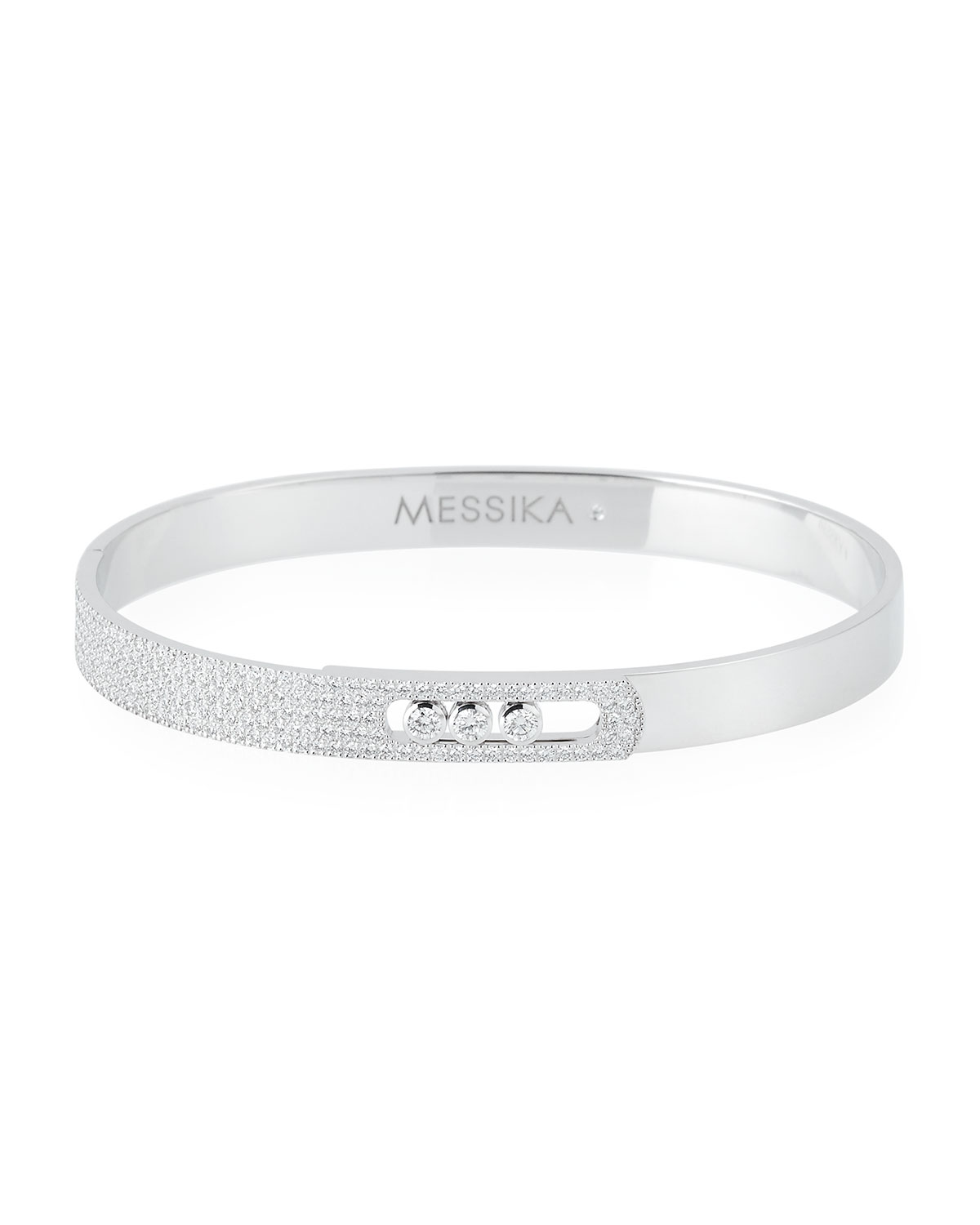 Messika 18k White Gold Small Pave Diamond Bangle P9vilJMSRz