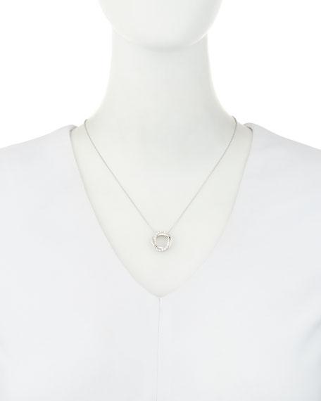 18K White Gold Interlocking Halo Diamond Pendant Necklace
