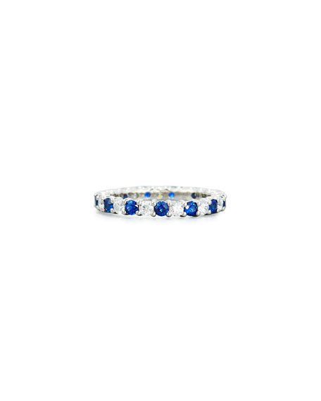 NM Diamond Collection Prong-Set Diamond & Sapphire Band Ring in Platinum, Size 6.5