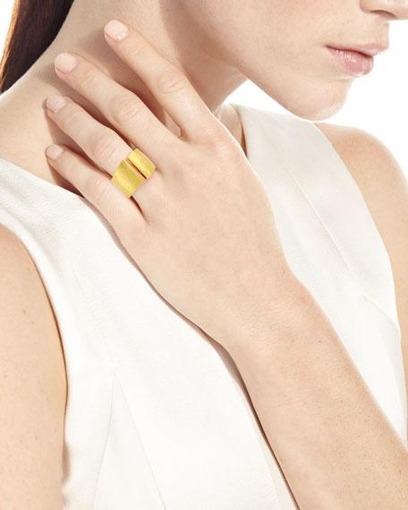 Vendorafa Hammered Split-Center Ring in 18K Gold, Size 8