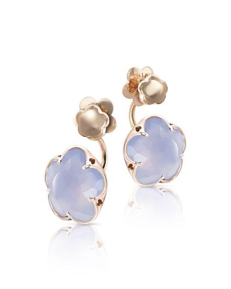 Bon Ton Chalcedony Flower Jacket Earrings in 18K Rose Gold
